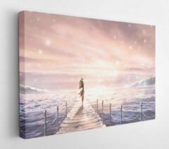 Onlinecanvas Beautiful illustration with sunlight. A girl in a dress standing on a pier by the sea. Picture. Shine at dawn or at sunset. Pastel pink and blue colors. Fantasy - Modern Art Canvas - Horizontal - 635630822 - 50*40 Horizontal