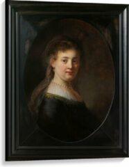 Bruine KuijsFotoprint Canvas - Oude meesters - Vrouw in gefantaseerde kleding, Rembrandt van Rijn - 75x100cm Foto op Canvas Schilderij (Wanddecoratie op Canvas)