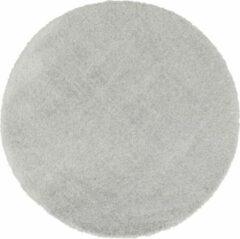 Licht-grijze Flooo Rond vloerkleed - Tapijten Woonkamer - Hoogpolig - Silver Grey - Grijs - 133 cm