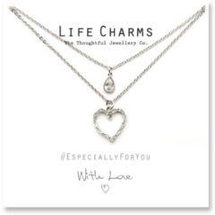 Life Charms Ketting met Giftbox Silver 2 Layer Heart + Teardrop