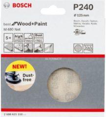 Bosch Schleifblatt M480 Net, Best for Wood and Paint, 125 mm, 240, 5er-Pack VPE: 5