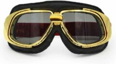Ediors retro goud, zwart leren motorbril | Donker / Smoke