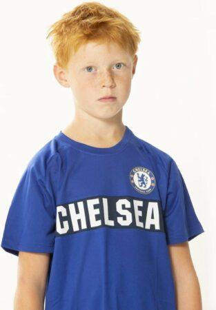 Afbeelding van Blauwe chelsea thuis tenue officieel chelsea fc product home voetbaltenue shirt en broek maat