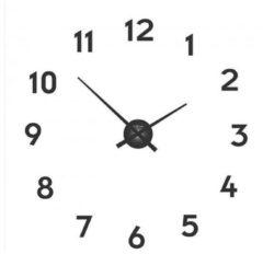NeXtime Small Hands - Klok - Inclusief Cijfers - Rond - Aluminium - Ø48 cm - Zwart