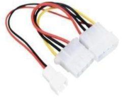Valueline Interne stroom adapterkabel Molex mannelijk - Molex vrouwelijk + 3-pins fan power 0,15 m veelkleurig