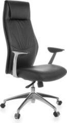 AMSTYLE Bürostuhl OXFORD 1 Echtleder Schwarz Schreibtischstuhl X-XL 120kg Synchronmechanik Chefsessel Kopfstütze hoch