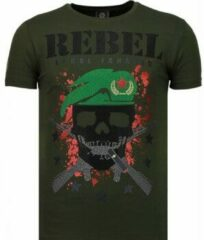 Groene T-shirt Korte Mouw Local Fanatic Skull Rebel - Rhinestone T-shirt