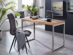 Wohnling Schreibtisch GUNA Massivholz Akazie Computertisch 120 x 60 cm Laptoptisch Landhaus Konsolentisch mit Metallbeinen