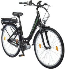 Ecoline City E-Bike ECU 1703, Pedelec + FISCHER Faltschloss + FISCHER 2in1 Gepäckträgertasche/Rucksack + FISCHER Minipumpe + NIGRIN Reifendicht Vortei