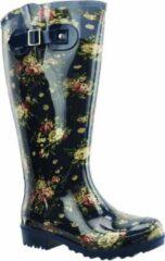Regenlaars Blauw Flowers WIDE WELLIES Kuitomvang 45 cm XL maat 40