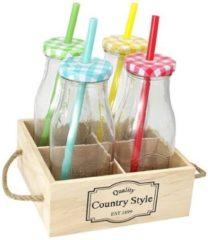 Massamarkt Fles glas s/4 m/ houten tray Drinkflessen afsluitbaar