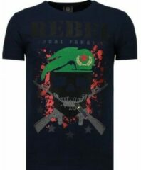 Zwarte Local Fanatic Skull Rebel - Rhinestone T-shirt - Blauw Skull Rebel - Rhinestone T-shirt - Wit Heren T-shirt Maat XL