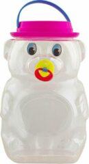 Playtime Grote spaarpot XXL - Teddy beer met tutter - Transparant - 30 x 20 cm