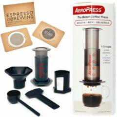 Zwarte Aerobie Aeropress Coffee Maker + IMS E&B LAB filter 35 micron + IMS E&B LAB filter 150 micron