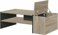 Autre YORI Bar salontafel - Industriële stijl - Zwart eikenhouten decor - B 110 x D 60 x H 36 cm