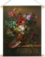 53 Graden Noord Textielposter / Wandkleed Stilleven met bloemen in een Griekse vaas - Georgius Jacobus Johannes van Os - 60x80 cm