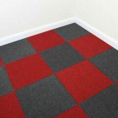 MonsterShop 40 x Tapijttegels - Kleur: Zwart en Rood - 50x50cm 10m2 - Vloerbedekking - Tapijt tegels tegel - Makkelijk te leggen - Ideaal voor kantoren woningen werkplaatsen