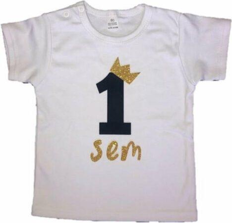 Afbeelding van Dottig.com Jongensshirt, eigen naam, zwart/goud, 1 jaar, verjaardag
