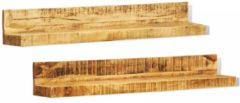Bruine VidaXL Massief houten boekenplank (set van 2)