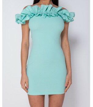 Afbeelding van Blauwe Korte Jurk Parisian Ruffle Detail Bardot Bodycon Mini Dress