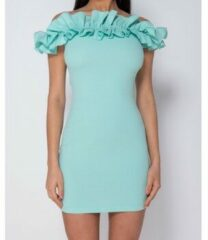 Groene Korte Jurk Parisian Ruffle Detail Bardot Bodycon Mini Dress