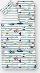 Blauwe Flexa dekbedovertrek Transport - Katoen satijn - Eenpersoons - 140 x 200/220