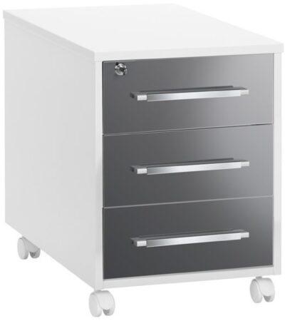 Afbeelding van Bermeo Ladeblok Jones 59 cm hoog - Hoogglans wit met grijs