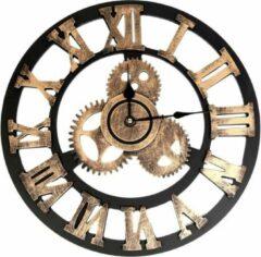 QUVIO Industriële houten wandklok / Romeinse cijfers / Klok / Muurklok / Diameter van 45cm - Bruin en brons