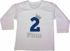 Dottig.com Verjaardagshirt, jongens, boy, cakesmash, smash cake, two, verjaardag, 2 jaar, birthday, eigen naam, blauw/zilver