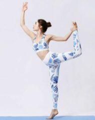 Yoga set, dames met wit met blauwe print - Semmin Sports Yoga Collection