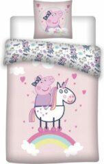 Roze Peppa Pig Dekbedovertrek Unicorn - Eenpersoons - 140 x 200 cm - Katoen