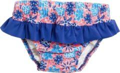 Roze Playshoes - UV wasbare zwemluier - bloemen blauw ruches