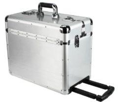 Aluminium Pilotenkoffer XL 47 cm Laptopfach Dermata silberfarben