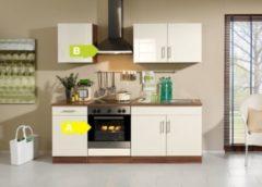 HELD Möbel Küchenzeile City 210 cm Hochglanz creme - inkl. E-Geräte