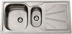 Nemo Go Legato inbouwspoeltafel 1000x500 mm 15 bak inclusief afvoerplug en overloopset inclusief plaatsbesparende sifon 64x40 mm inclusief InoxClean hoogwaardig roestvrij staal met waterkeringsrand omkeerbaar