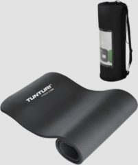 Zwarte Tunturi NBR - Fitnessmat - Oefenmat met Draagtas - 180 cm x 60 cm x 1.5 cm - Zwart