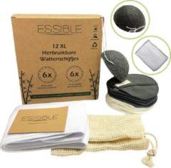 Grijze ESSIBLE 12 XL Wasbare Bamboe Wattenschijfjes – Haarband en Konjac Spons – Waszak – 3 laags – Scrub - Gezichtsreiniging - Herbruikbare Make-up Pads – Watten Herbruikbaar