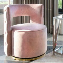 Richmond Interiors Richmond Fauteuil 'Jamie' Velvet, kleur Roze