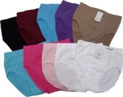 Fine Woman Hoge taille naadloze Dames Slips 10 Pack kleur maat L