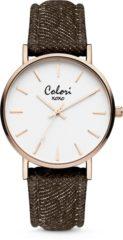 Colori XOXO 5 COL568 Horloge - Denim Band - Ø 36 mm - Bruin / Rosékleurig