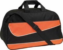 Merkloos / Sans marque Oranje/zwarte sporttas/weekendtas 55 cm - 50 liter - Fitness/sporttassen - Weekendtassen/reistassen
