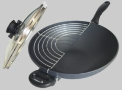 Zwarte Swiss Diamond Wok met deksel en rooster inductie Ø320mm SD61132ic