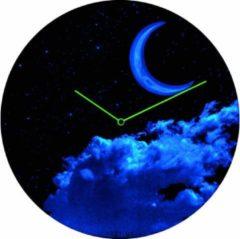 Grijze NeXtime New Moon Dome - Klok - Stil uurwerk - Glow in the Dark - Glas - Rond - Ø35 cm - Blauw