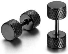 Mendes Stalen Stud oorbellen Barbell Zwart 5mm