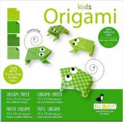 Fridolin Kids Origami: KIKKER 15x15cm, met zelfklevers, 20 bladen met 4 verschillende tekeningen en zelfklevers, 6+