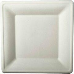 Pure - Disposable Tableware 12x Witte suikerriet lunchbordjes 26 cm biologisch afbreekbaar - Vierkante wegwerp bordjes - Pure tableware - Duurzame materialen - Milieuvriendelijke wegwerpservies borden - Ecologisch verantwoord