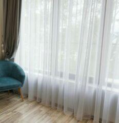 Home of Curtains - Bibiana - Vitrage met plooiband voor haakjes - kant en klaar - Wit - 150 x 260 cm