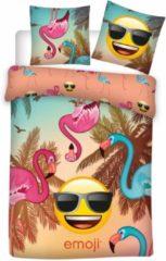 Emoji Flamingo - Dekbedovertrek - Eenpersoons - 140 x 200 cm - Polyester