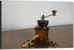 Bruine KuijsFotoprint Dibond –Oude Koffiemaler met Koffiebonen – 120x80 Foto op Aluminium (Wanddecoratie van metaal)