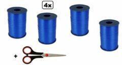 4x Krullint blauw assortie 5mmx500meter| merk Cotton blue |krullischaar| kerst sinterklaas decoratie